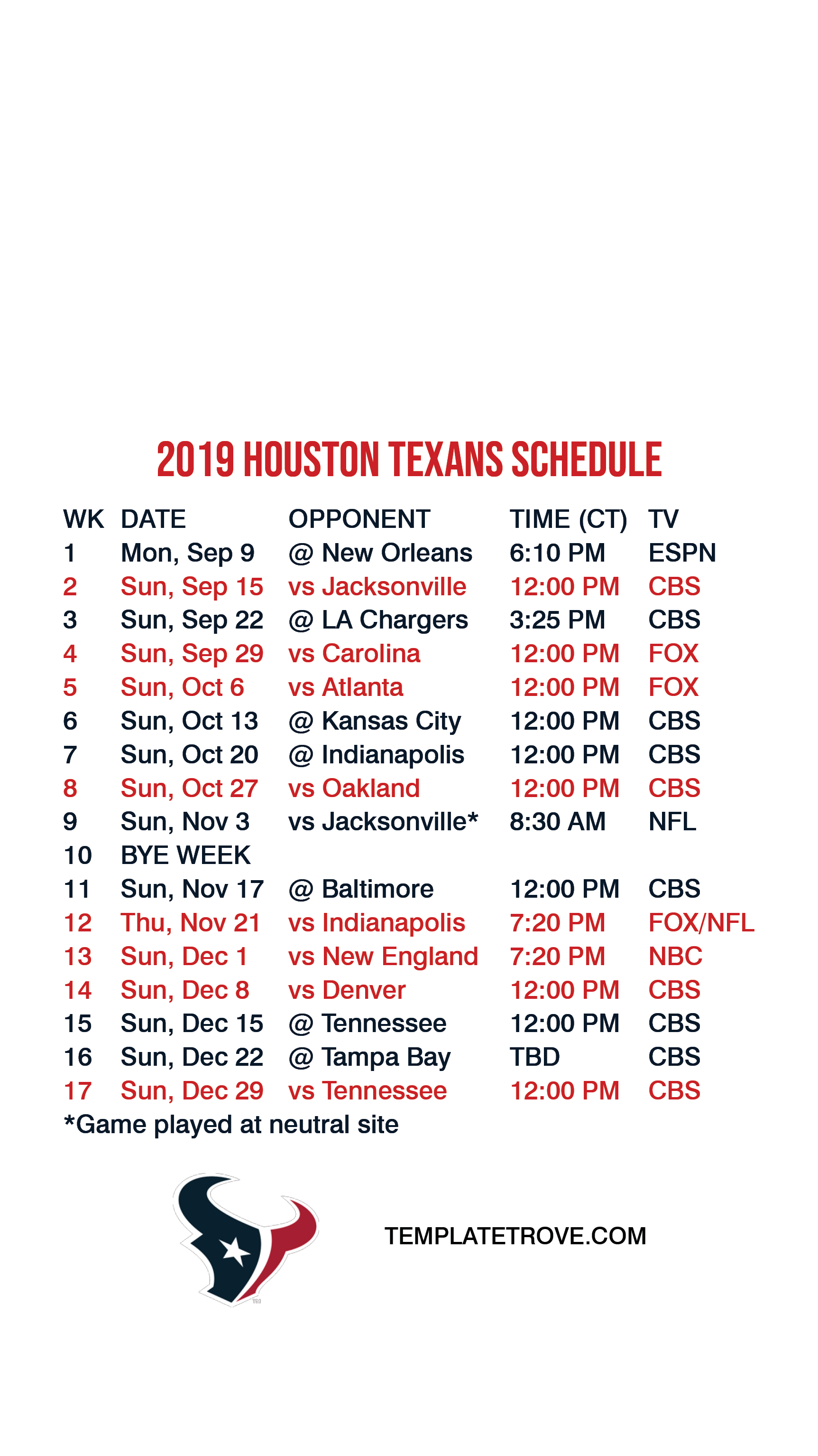 2019-2020 Houston Texans Lock Screen Schedule for iPhone 6