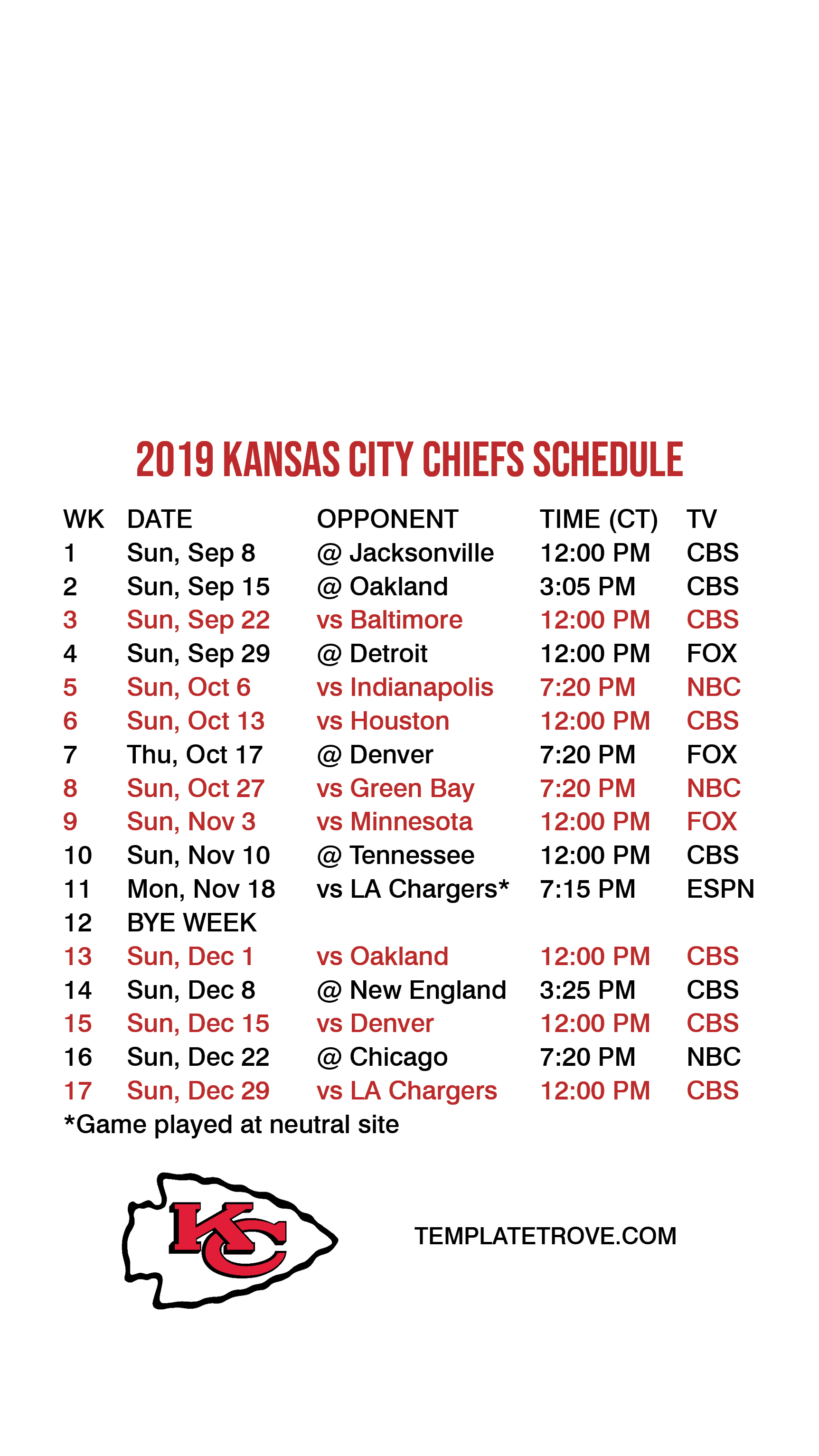 It's just an image of Decisive Kansas City Chiefs Printable Schedule