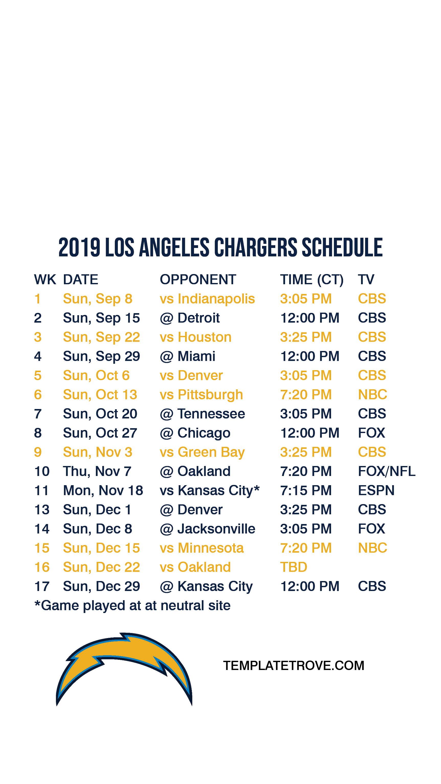 Chargers Schedule 2020.2019 2020 Los Angeles Chargers Lock Screen Schedule For