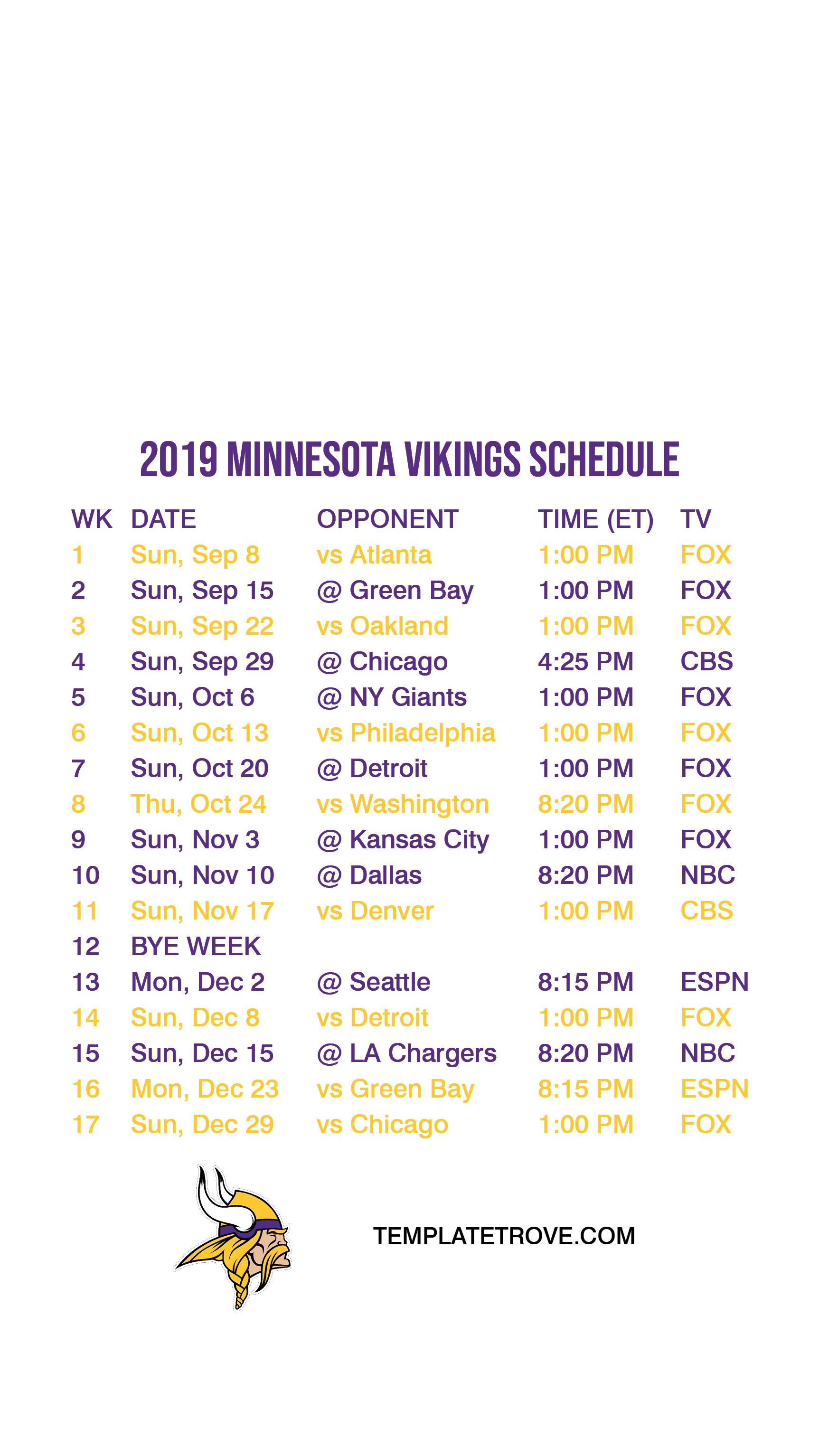 graphic regarding Minnesota Vikings Printable Schedule named 2019-2020 Minnesota Vikings Lock Show Plan for apple iphone