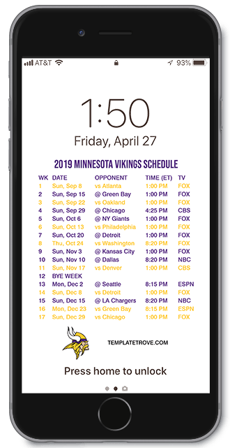 Mn Vikings Schedule 2020.2019 2020 Minnesota Vikings Lock Screen Schedule For Iphone