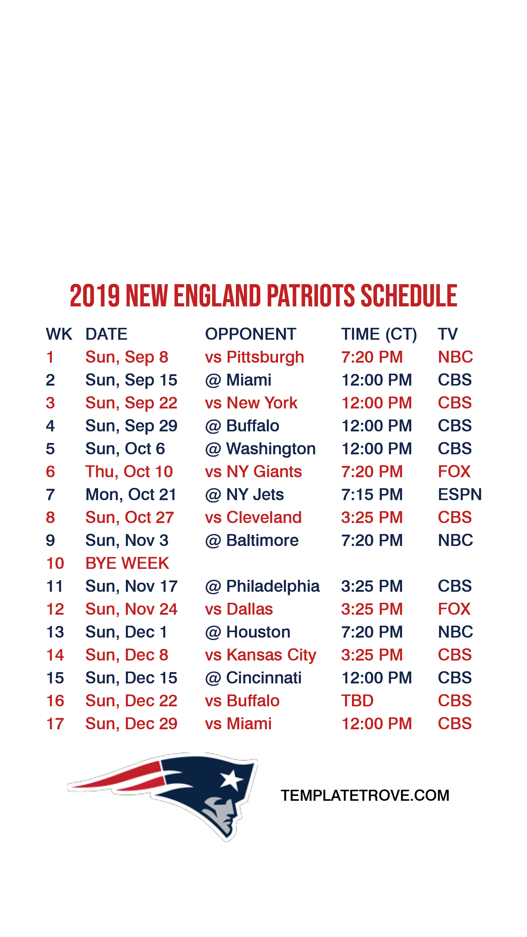This is an image of Gorgeous Printable Patriots Schedule