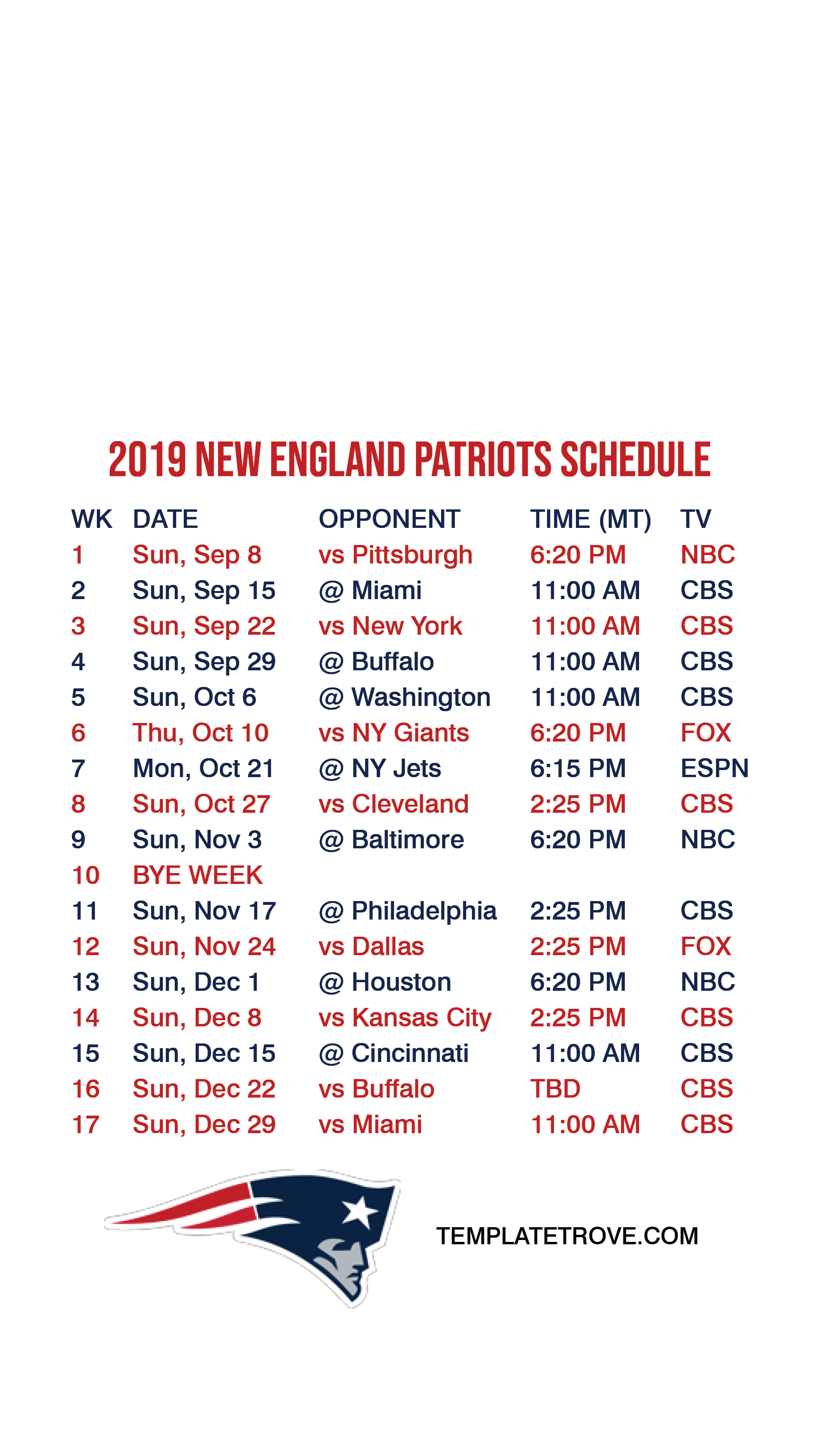 graphic regarding New England Patriots Printable Schedule called 2019-2020 Fresh England Patriots Lock Exhibit Routine for