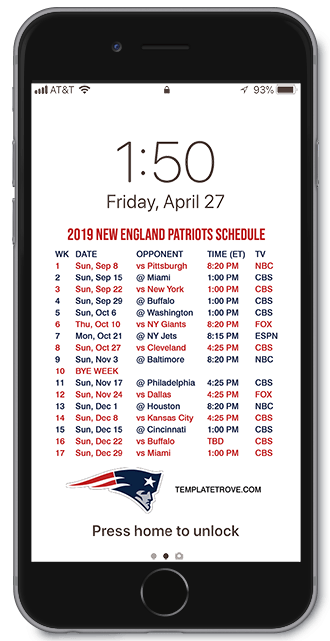 New England Patriots Schedule 2020.2019 2020 New England Patriots Lock Screen Schedule For