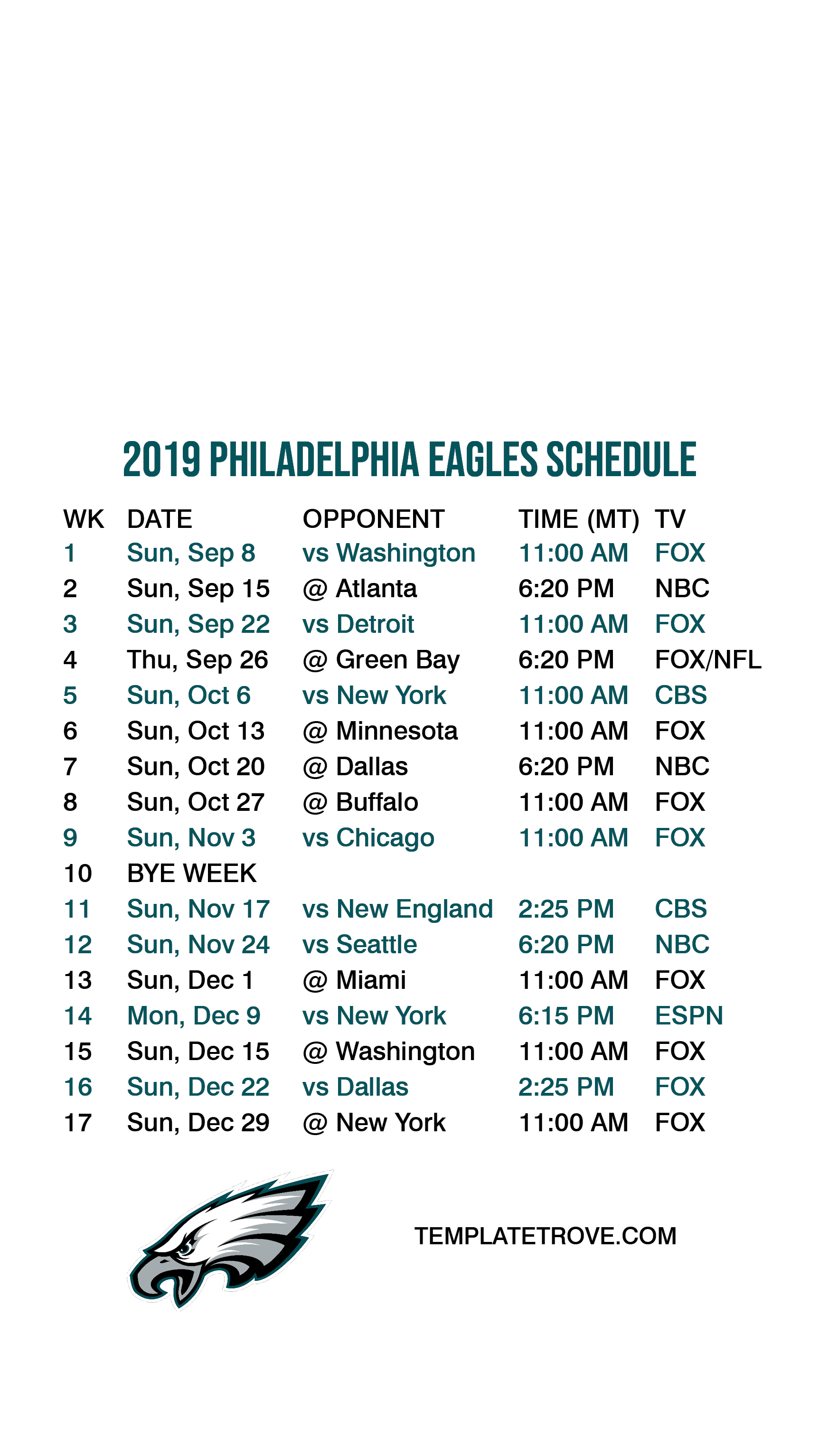 It's just a picture of Exceptional Eagles Schedule 2020 Printable