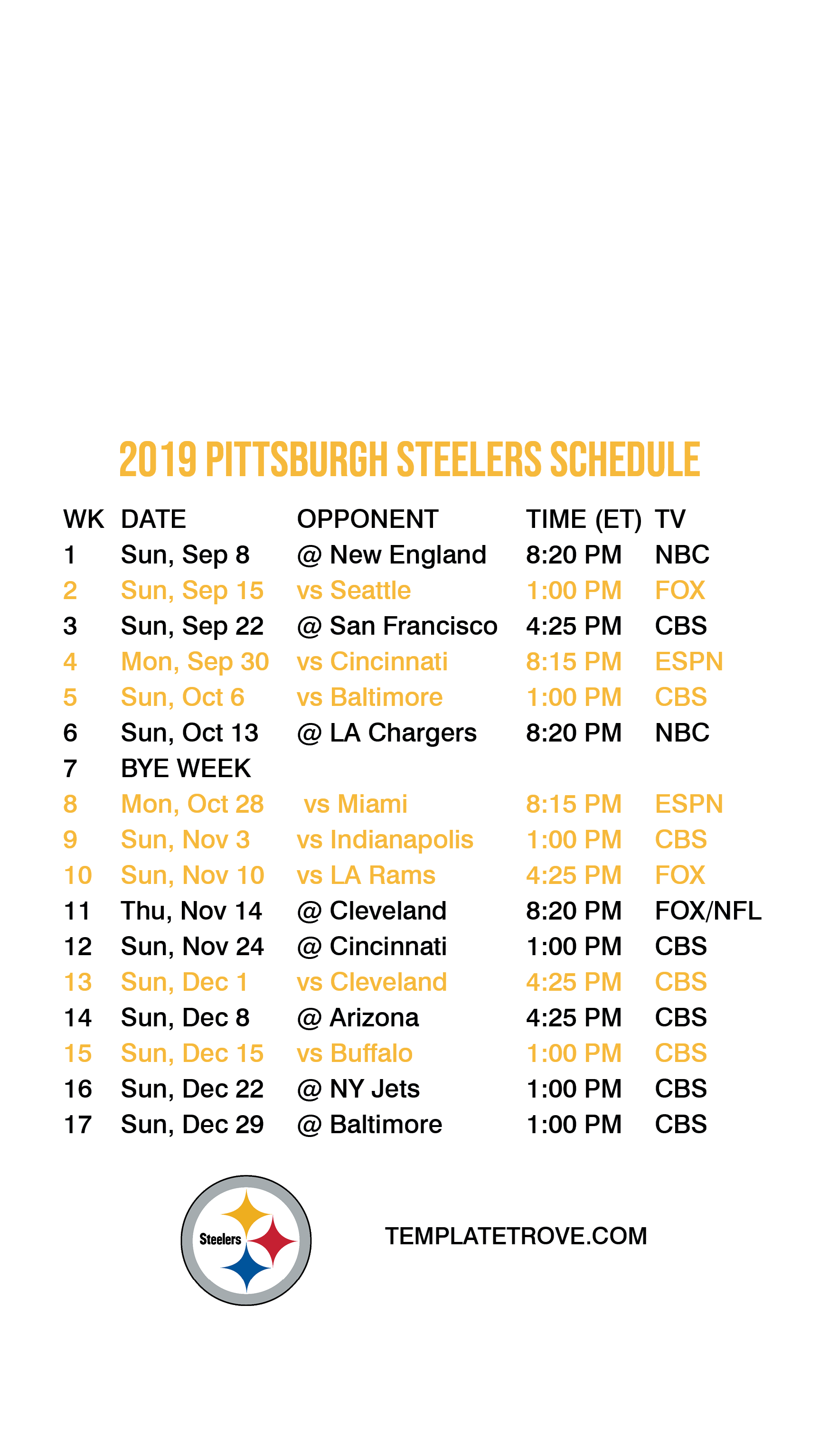 Wild image inside pittsburgh steelers printable schedule
