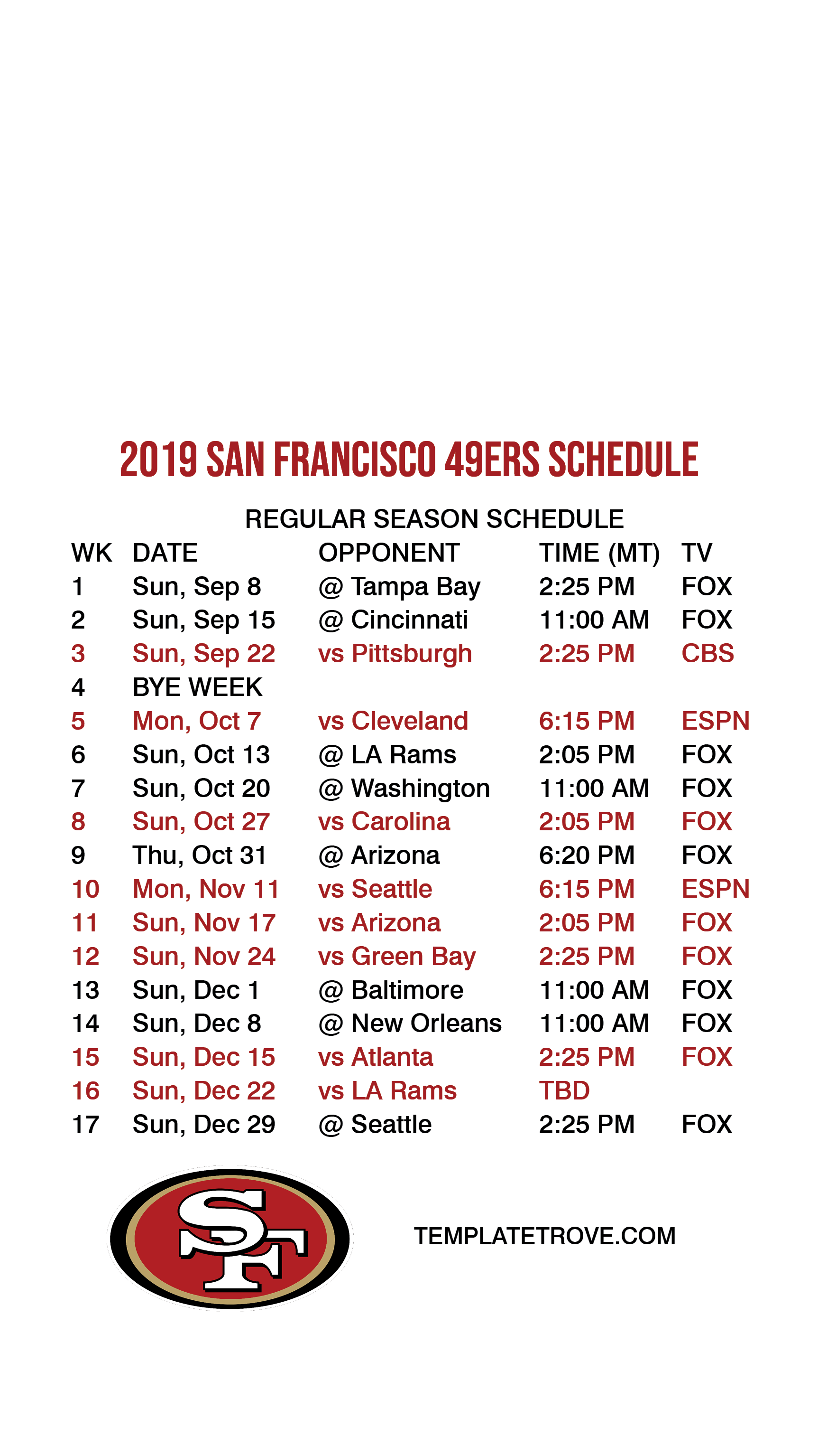 photograph regarding 49ers Schedule Printable identify 2019-2020 San Francisco 49ers Lock Exhibit Timetable for