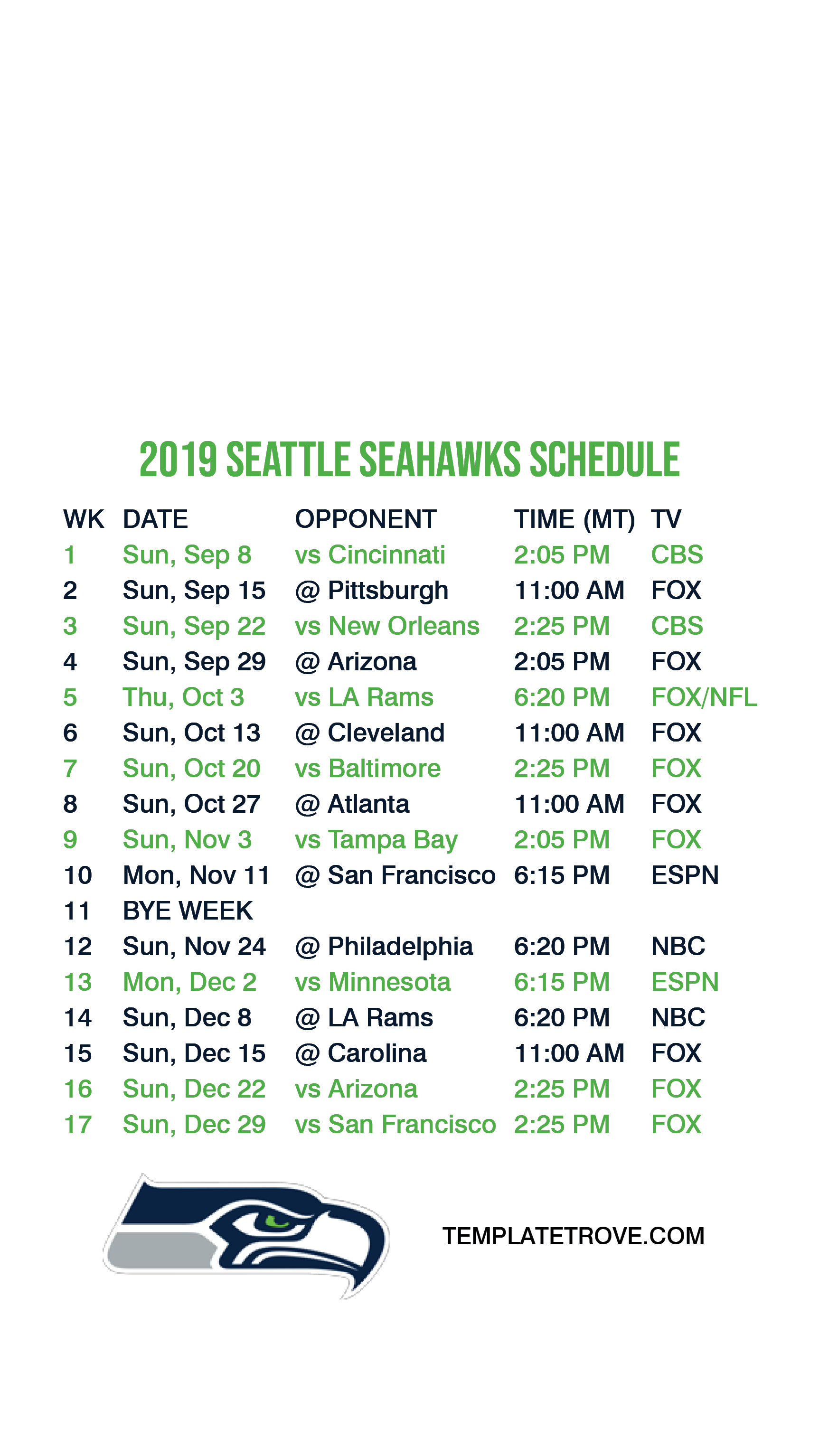 This is a photo of Mesmerizing Seattle Seahawks Schedule 2020 Printable Pacific Time