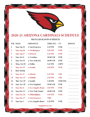 Arizona Cardinals 2020-21 Printable Schedule - Pacific Times
