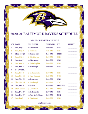 Baltimore Ravens 2020-21 Printable Schedule