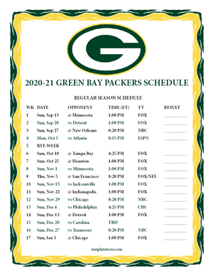 Green Bay Packers 2020-21 Printable Schedule