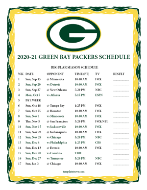Green Bay Packers 2020-21 Printable Schedule - Pacific Times