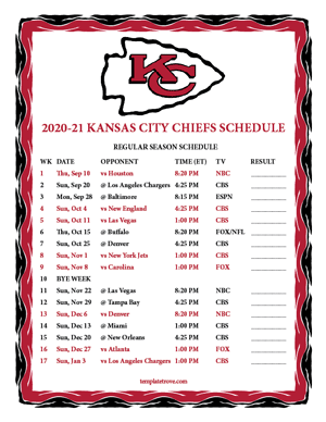 Kansas City Chiefs 2020-21 Printable Schedule