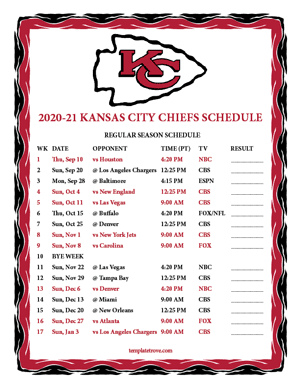 Kansas City Chiefs 2020-21 Printable Schedule - Pacific Times