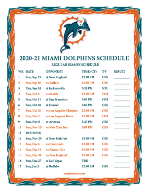 Miami Dolphins 2020-21 Printable Schedule - Central Times