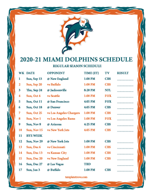 Miami Dolphins 2020-21 Printable Schedule