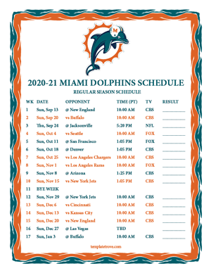 Miami Dolphins 2020-21 Printable Schedule - Pacific Times