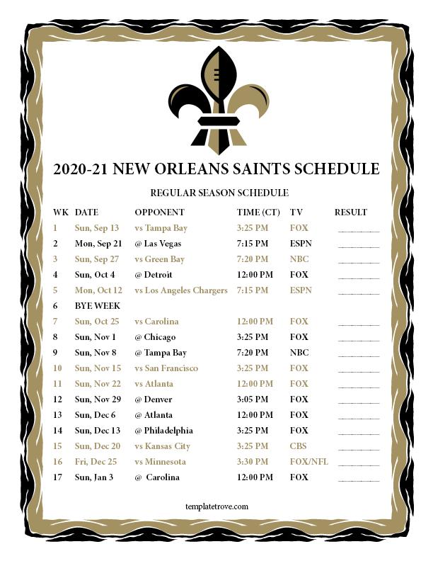 New Orleans Calendar 2022.Printable 2020 2021 New Orleans Saints Schedule