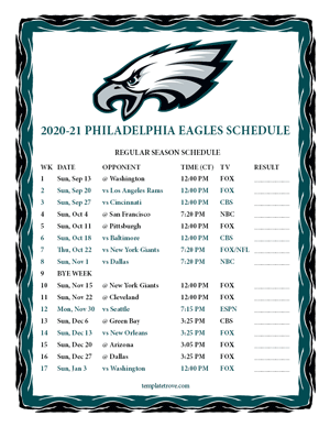 Philadelphia Eagles 2020-21 Printable Schedule - Central Times