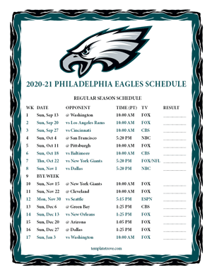 Philadelphia Eagles 2020-21 Printable Schedule - Pacific Times