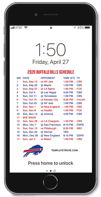2020 Buffalo Bills Lock Screen Schedule