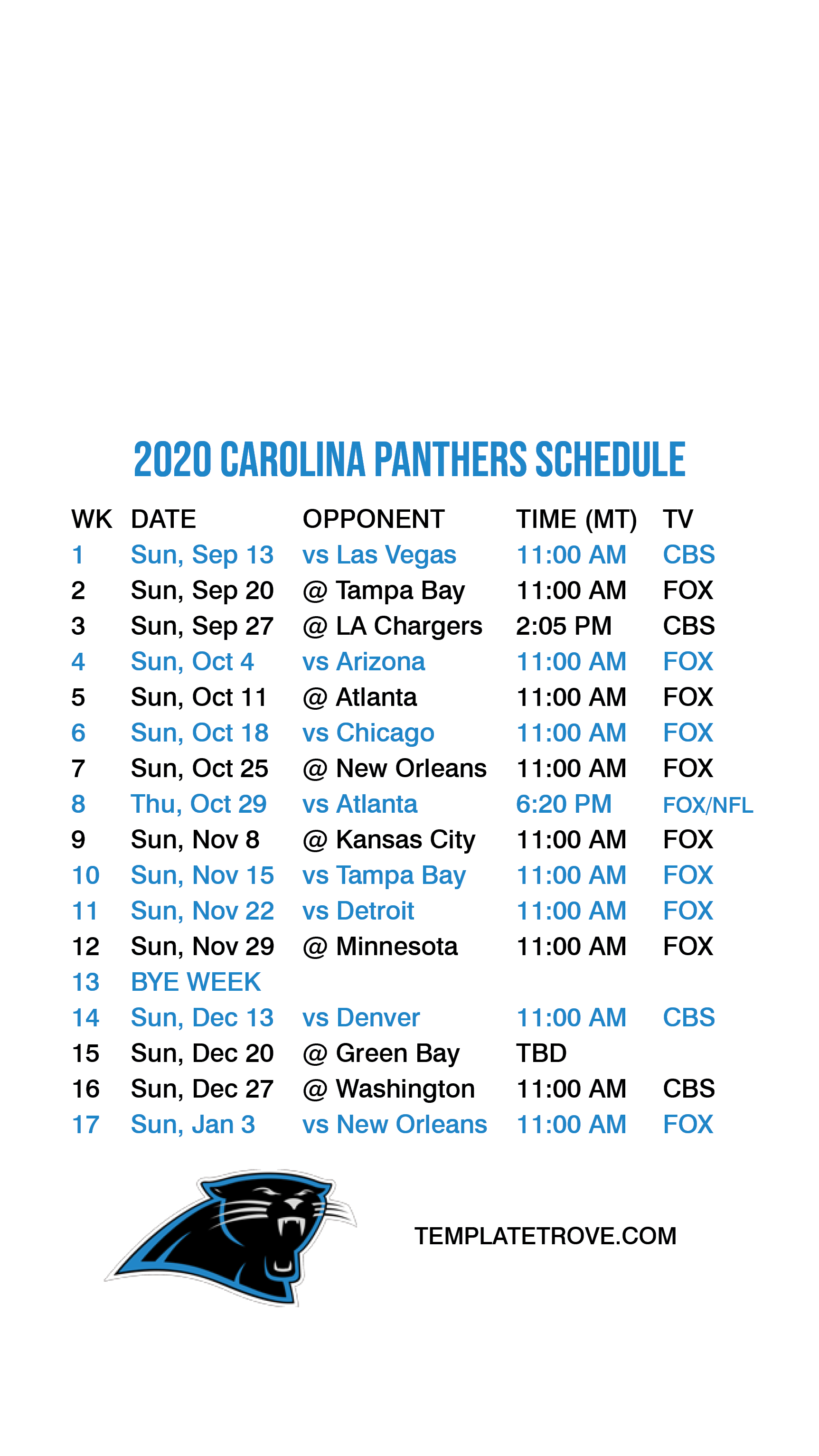 2020 2021 Carolina Panthers Lock Screen Schedule For