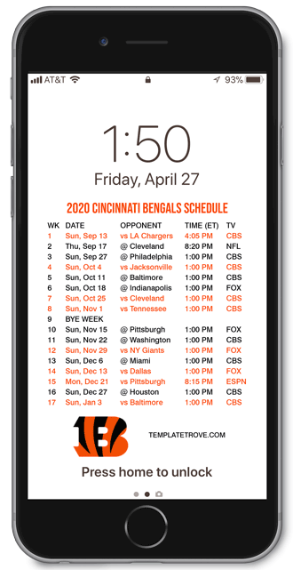 2020 Cincinnati Bengals Lock Screen Schedule