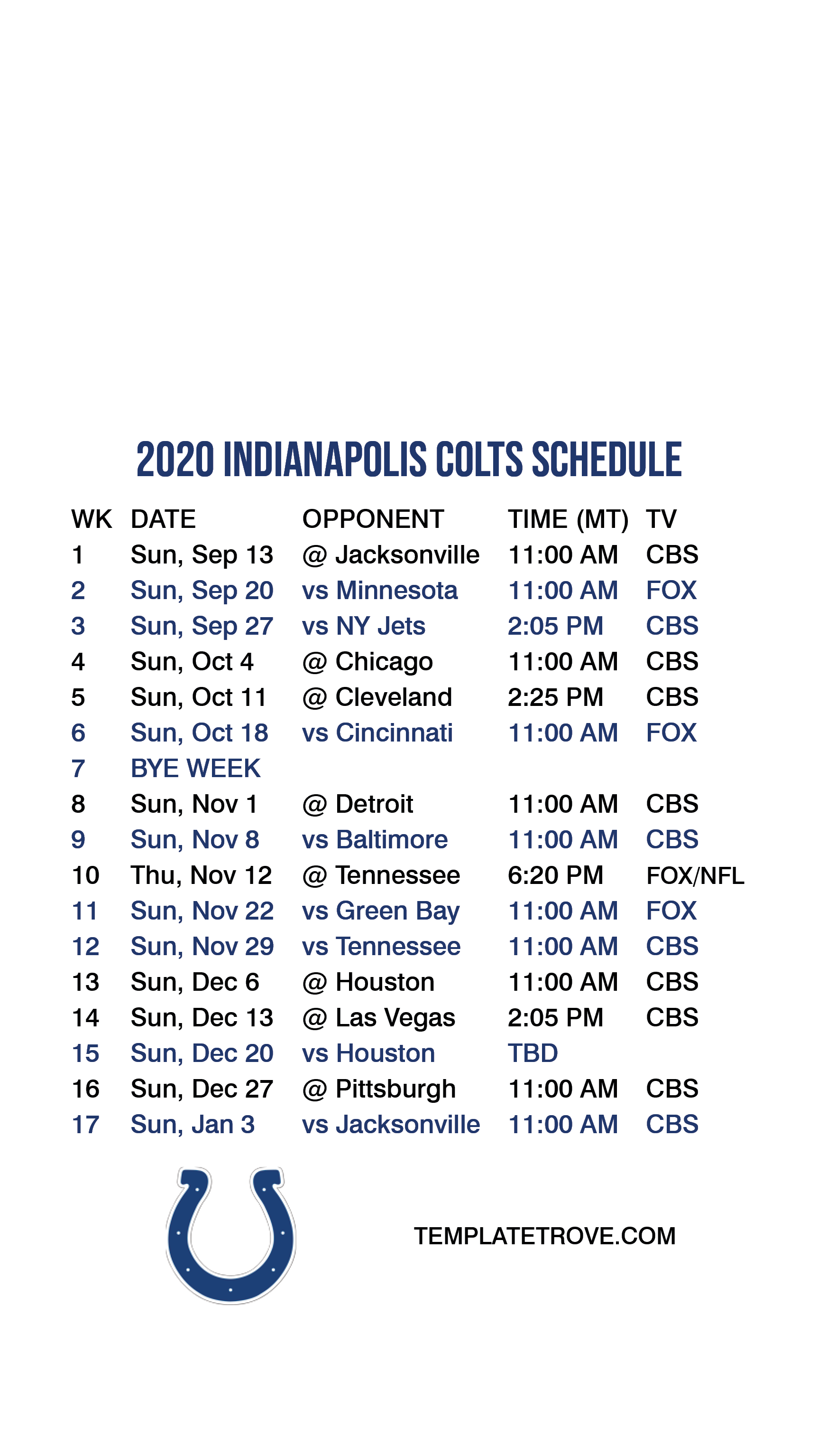 2020-2021 Indianapolis Colts Lock Screen Schedule for Specs