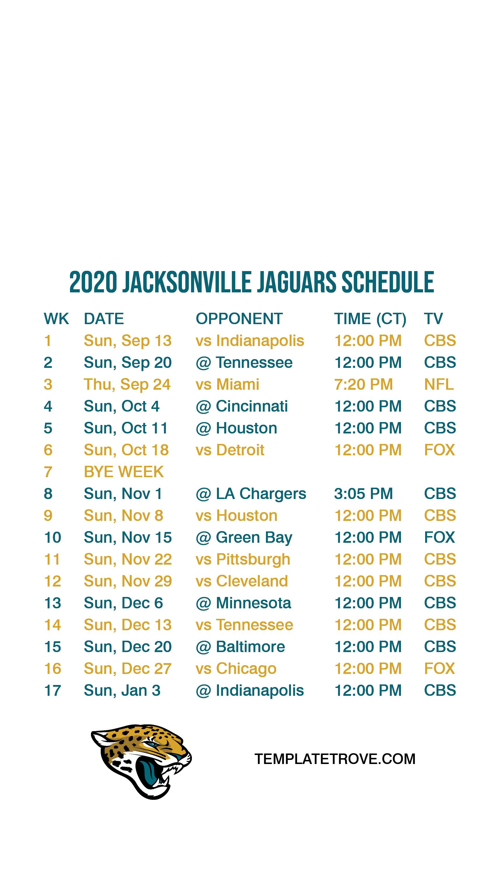 2020-2021 jacksonville jaguars lock screen schedule for