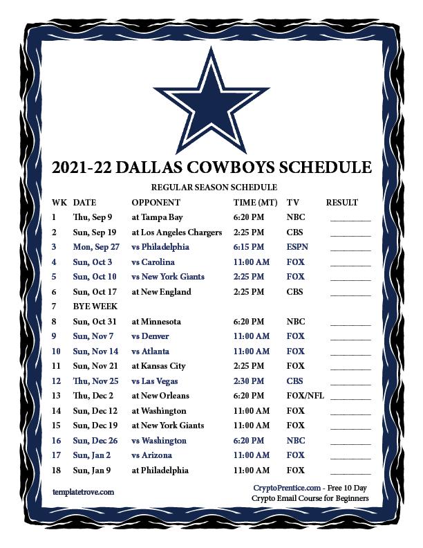Printable 2021 2022 Dallas Cowboys Schedule
