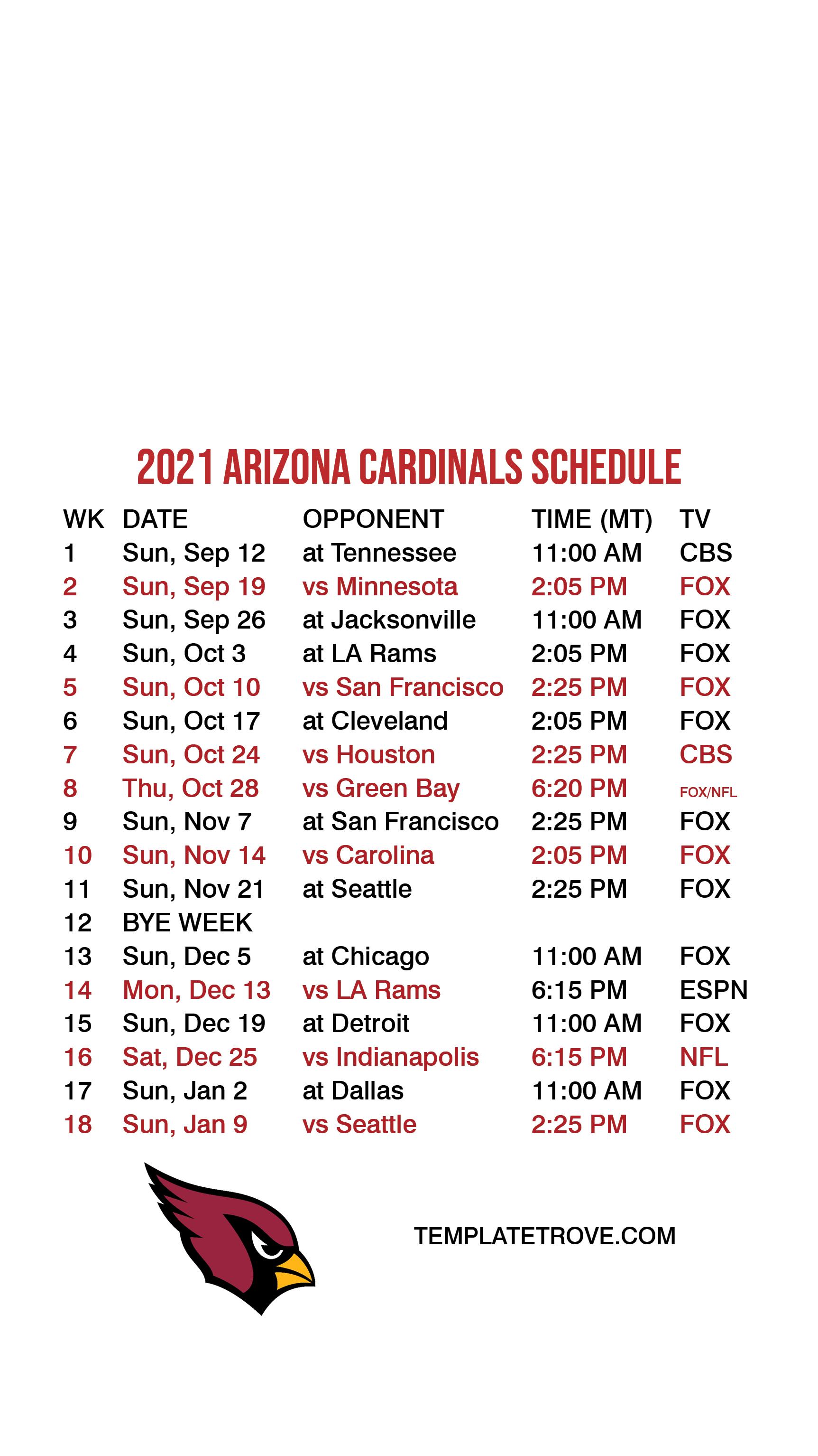 2021 2022 Arizona Cardinals Lock Screen Schedule For Iphone 6 7 8 Plus