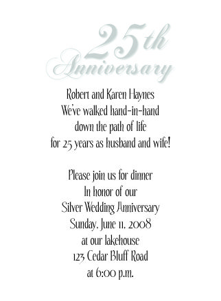 25th wedding anniversary invitations lee size anniversary invitation stopboris Image collections
