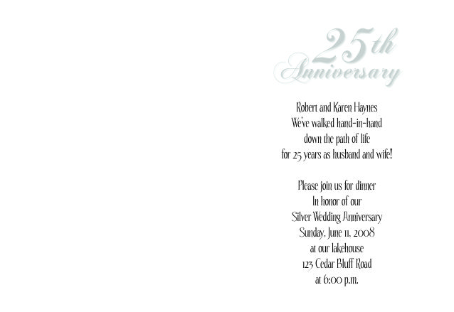 25th wedding anniversary invitations folded wedding invite 25th anniversary invitation 1 stopboris Image collections