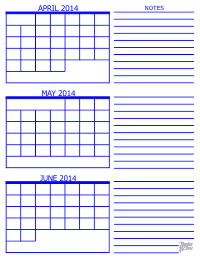 2014 3 Month Calendar - April, May and June