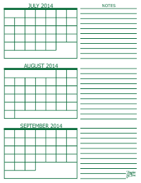3 Month Calendar - July, August and September