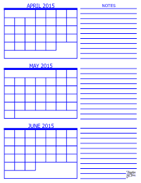 2015 3 Month Calendar - April, May and June