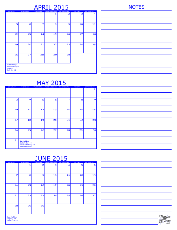 Calendar April And May And June : Month calendar
