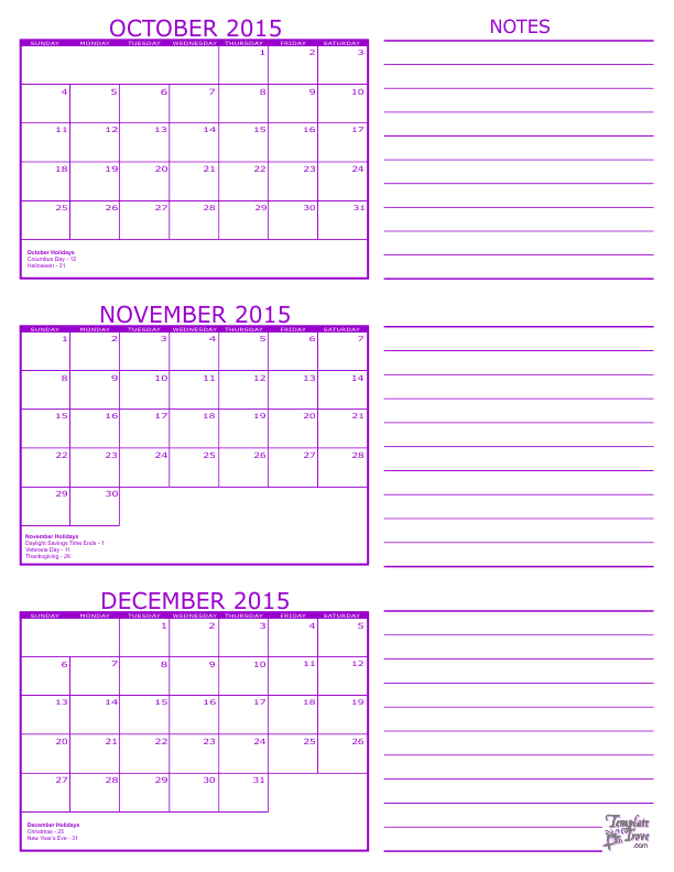 month to month calendar 2015