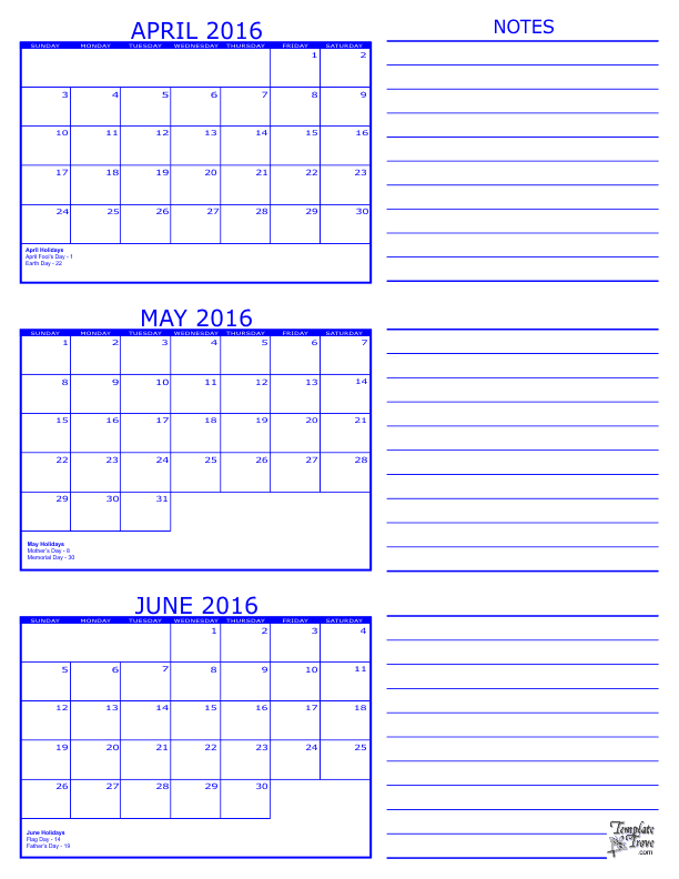 2016 3 Month Calendar - April, May and June