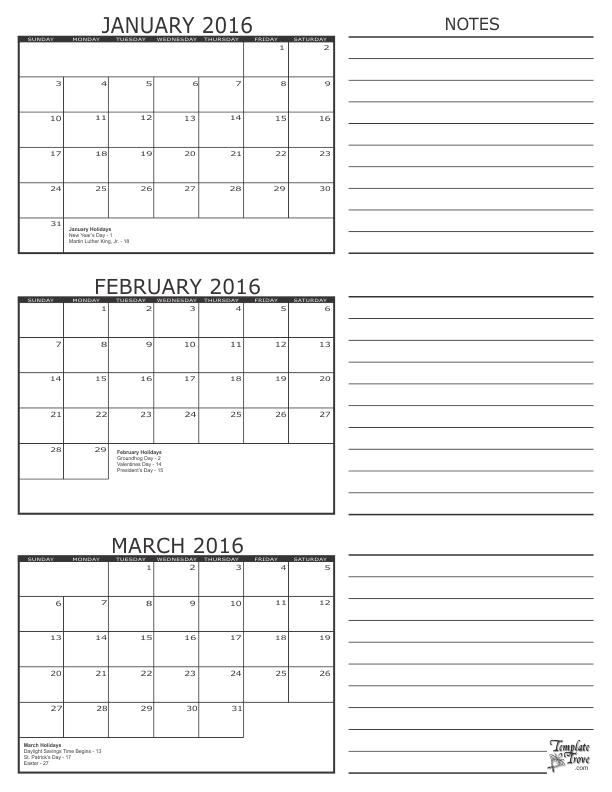 3 Month Calendar - 2016