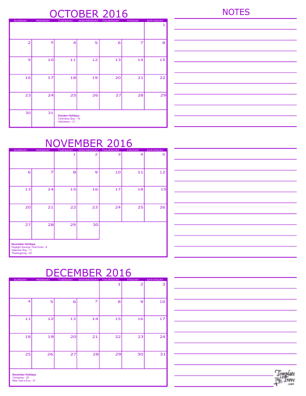 month at a glance calendar template