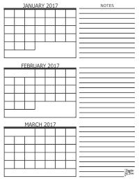 2017 3 Month Calendars