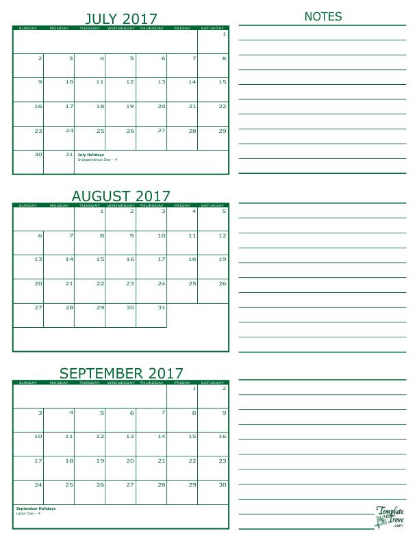 Calendar June July August September : Month calendar