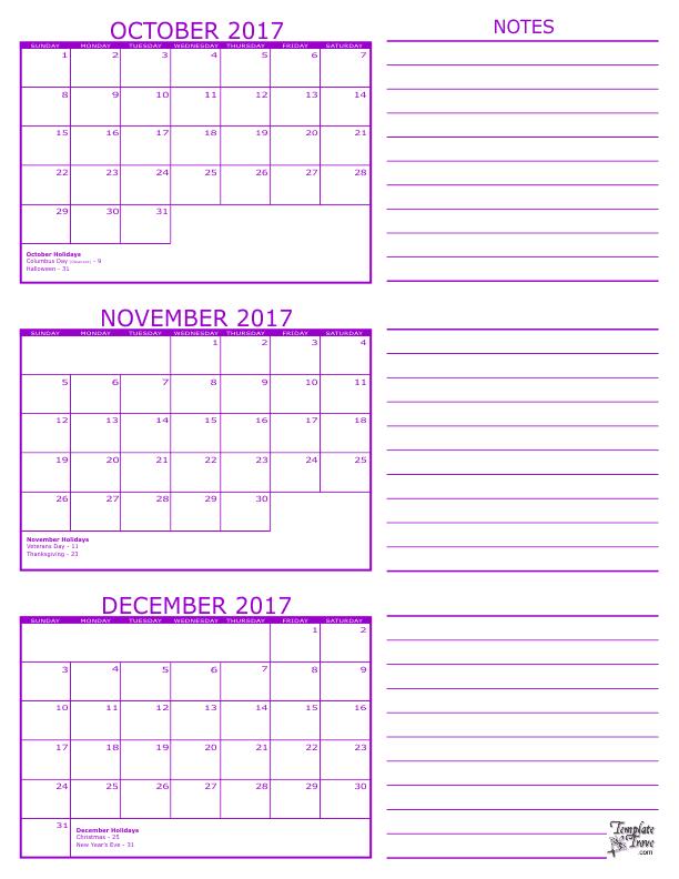 Calendar October 2017 December 2017