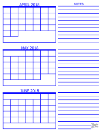 2018 3 Month Calendar - April, May and June