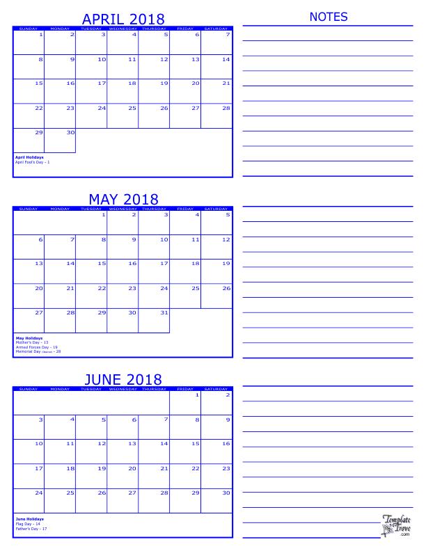 3 Month Calendar - 2018