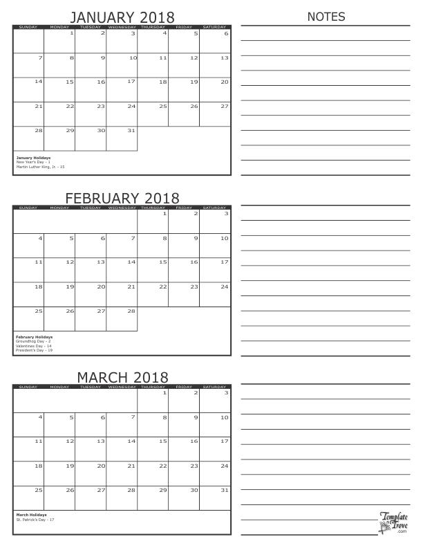 Printable 3 Month Calendar December 2017 To February 2019 3 Month Calendar   2018