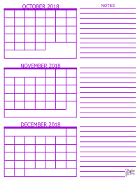 3 Month Calendar - October, November and December