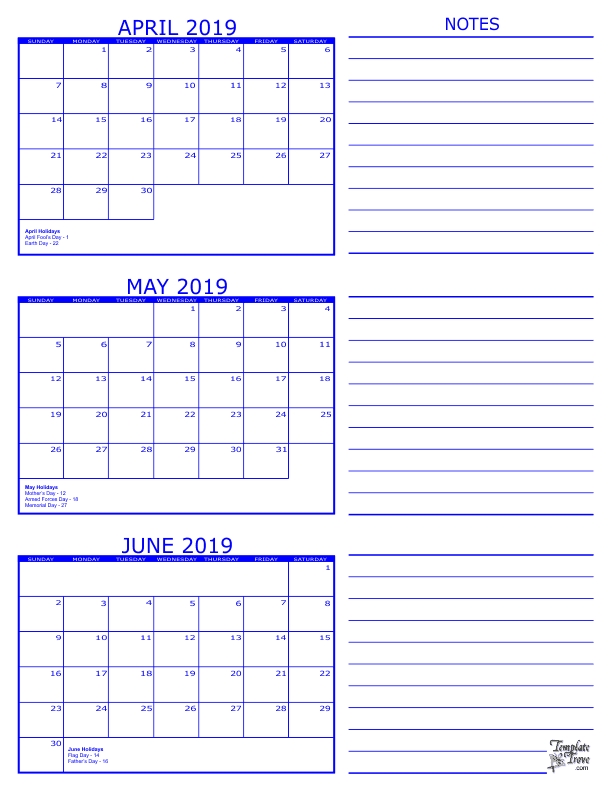 graphic relating to Printable April referred to as 3 Thirty day period Calendar - 2019