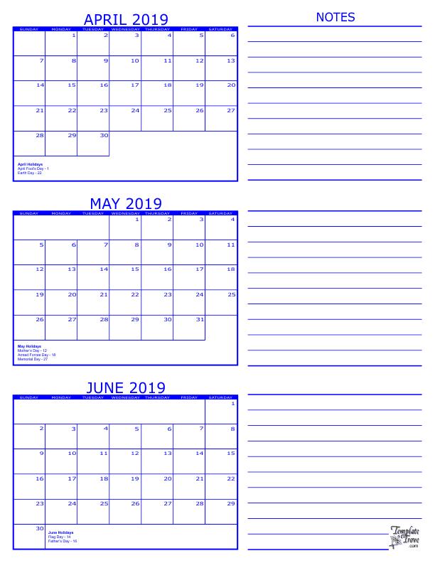 Three Month Calendar 2019 3 Month Calendar   2019